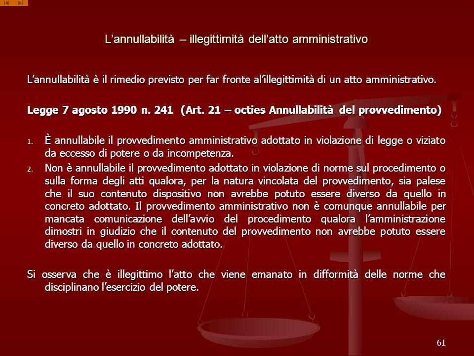 L'annullabilità – illegittimità dell'atto amministrativo
