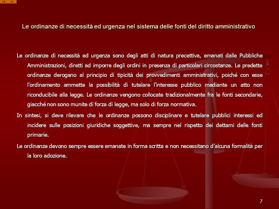 Le ordinanze di necessità ed urgenza nel sistema delle fonti del diritto amministrativo