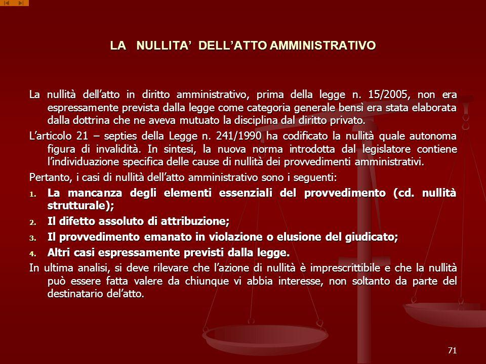 LA NULLITA' DELL'ATTO AMMINISTRATIVO