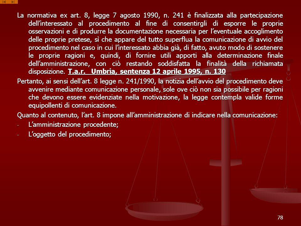 La normativa ex art. 8, legge 7 agosto 1990, n