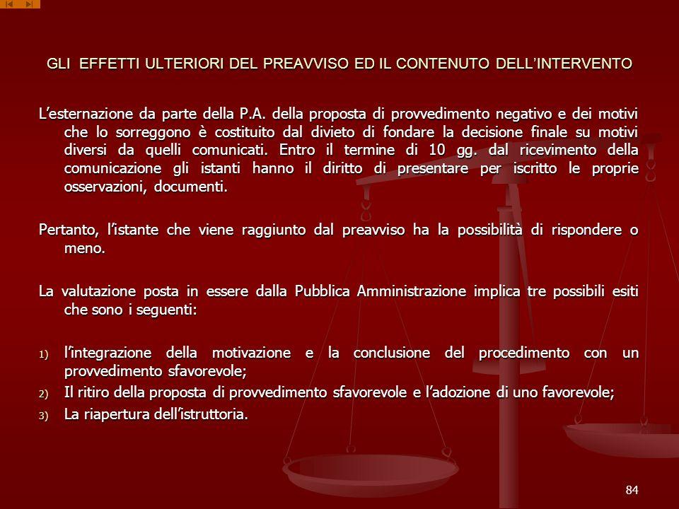 GLI EFFETTI ULTERIORI DEL PREAVVISO ED IL CONTENUTO DELL'INTERVENTO