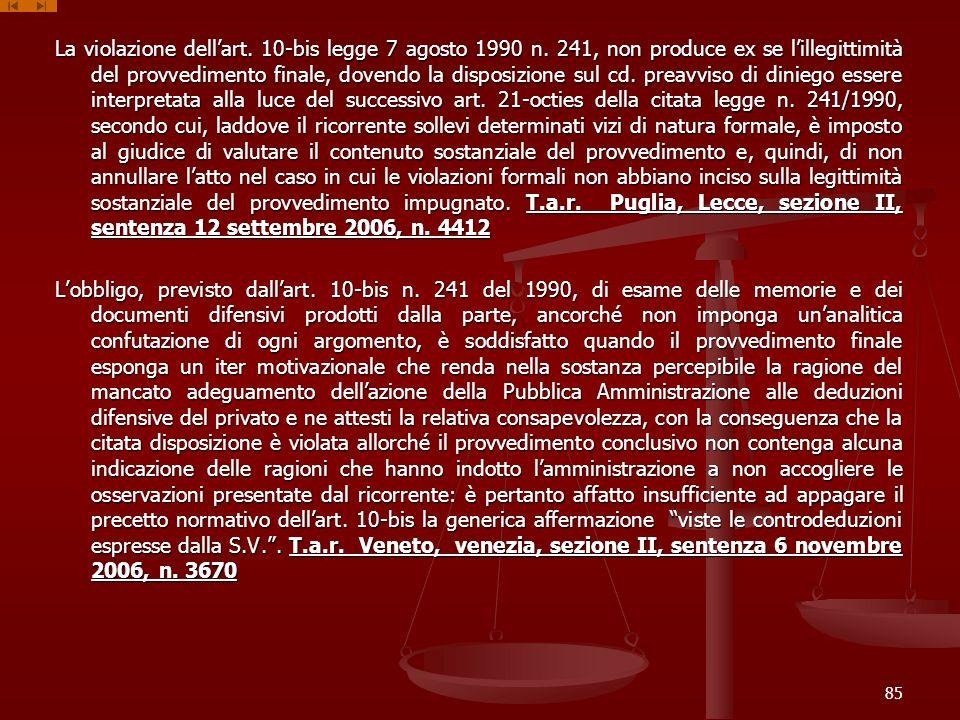 La violazione dell'art. 10-bis legge 7 agosto 1990 n