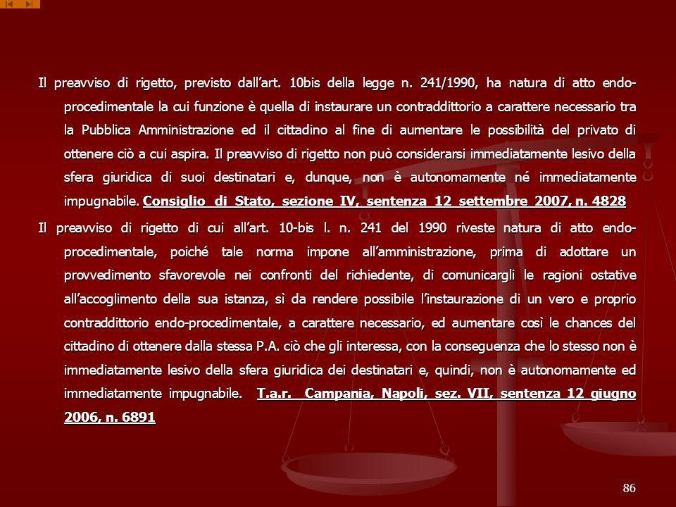 Il preavviso di rigetto, previsto dall'art. 10bis della legge n