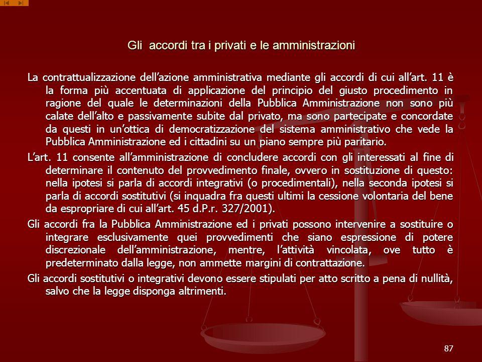 Gli accordi tra i privati e le amministrazioni