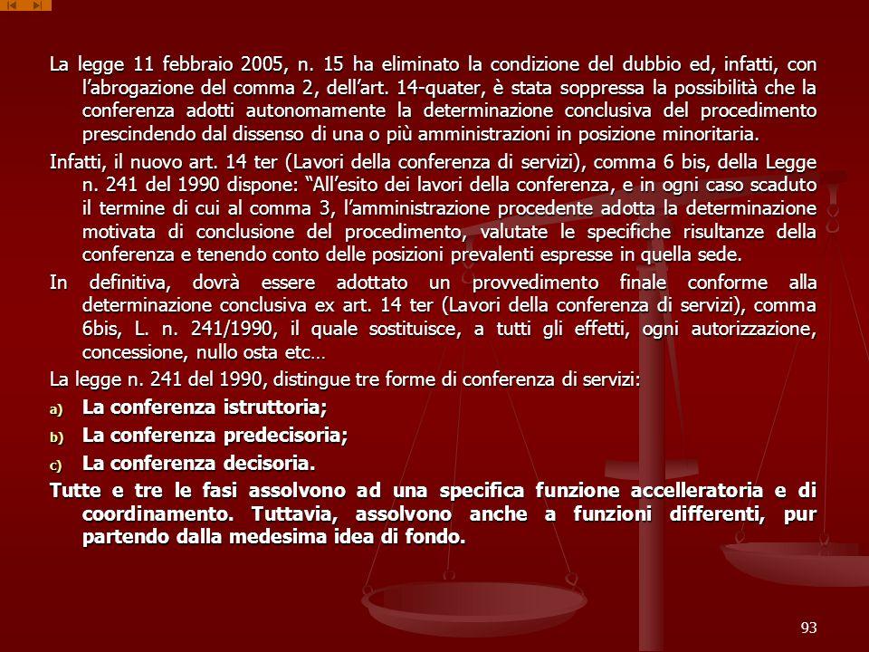 La legge 11 febbraio 2005, n. 15 ha eliminato la condizione del dubbio ed, infatti, con l'abrogazione del comma 2, dell'art. 14-quater, è stata soppressa la possibilità che la conferenza adotti autonomamente la determinazione conclusiva del procedimento prescindendo dal dissenso di una o più amministrazioni in posizione minoritaria.