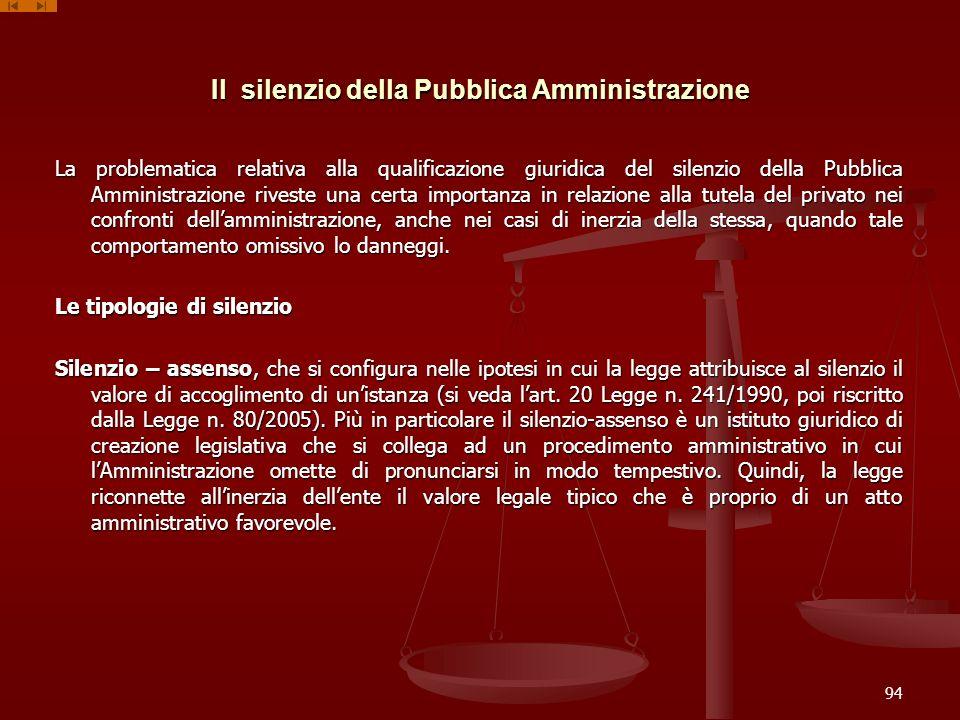 Il silenzio della Pubblica Amministrazione