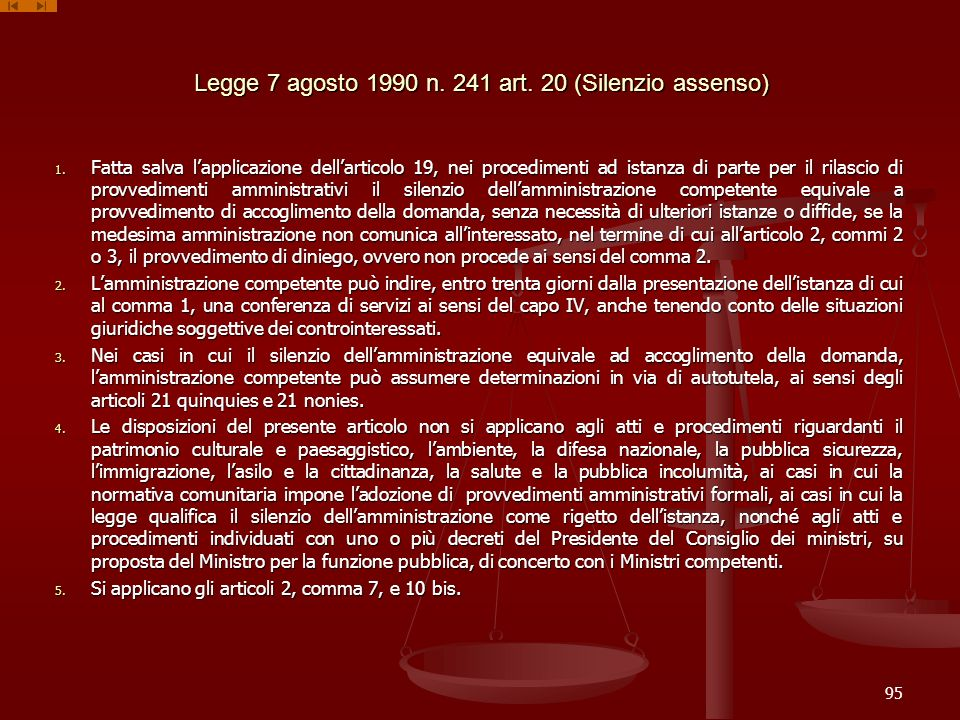 Legge 7 agosto 1990 n. 241 art. 20 (Silenzio assenso)