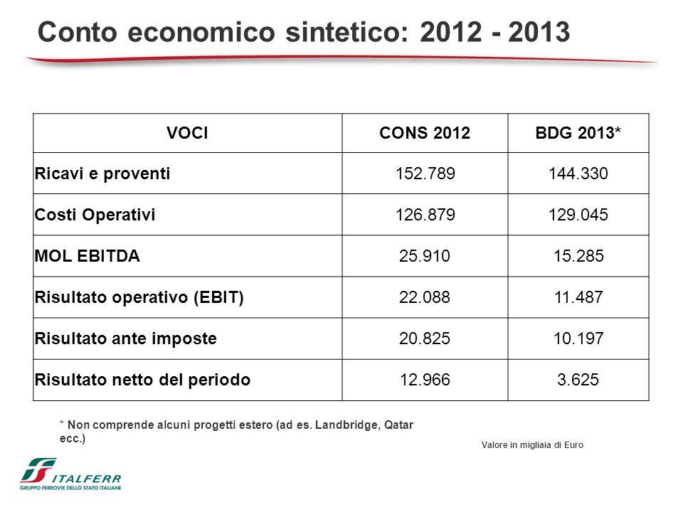 Conto economico sintetico: 2012 - 2013