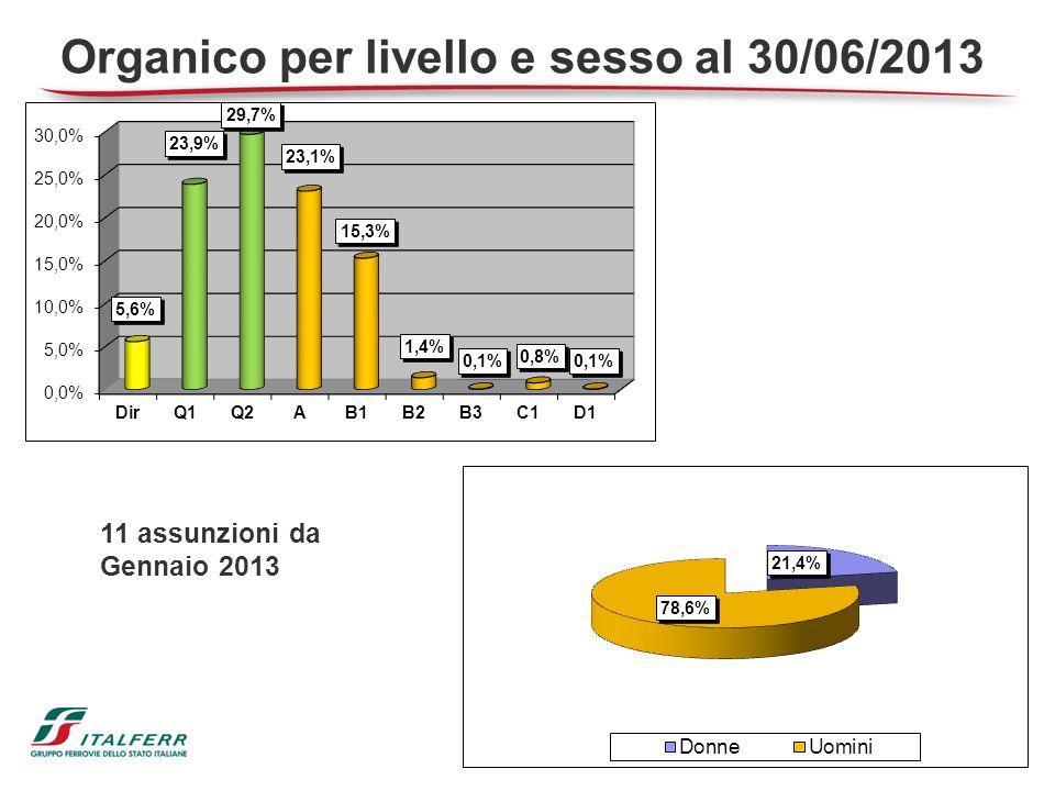 Organico per livello e sesso al 30/06/2013
