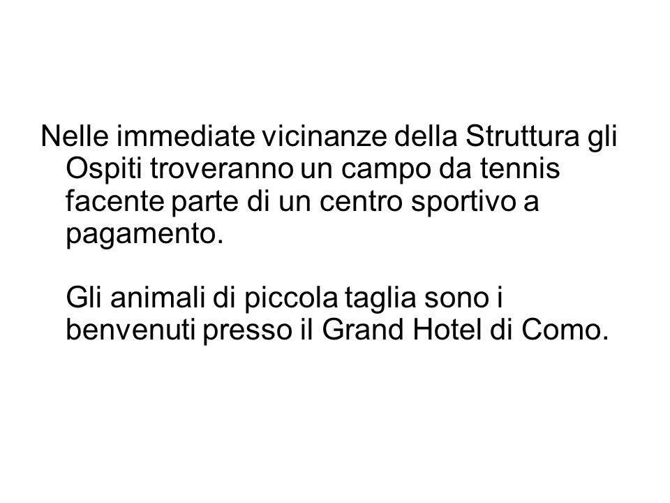 Nelle immediate vicinanze della Struttura gli Ospiti troveranno un campo da tennis facente parte di un centro sportivo a pagamento. Gli animali di piccola taglia sono i benvenuti presso il Grand Hotel di Como.