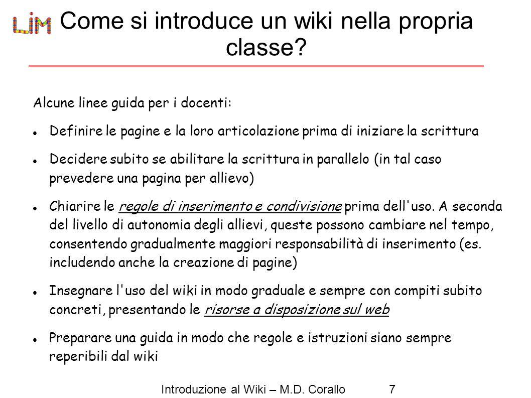 Come si introduce un wiki nella propria classe