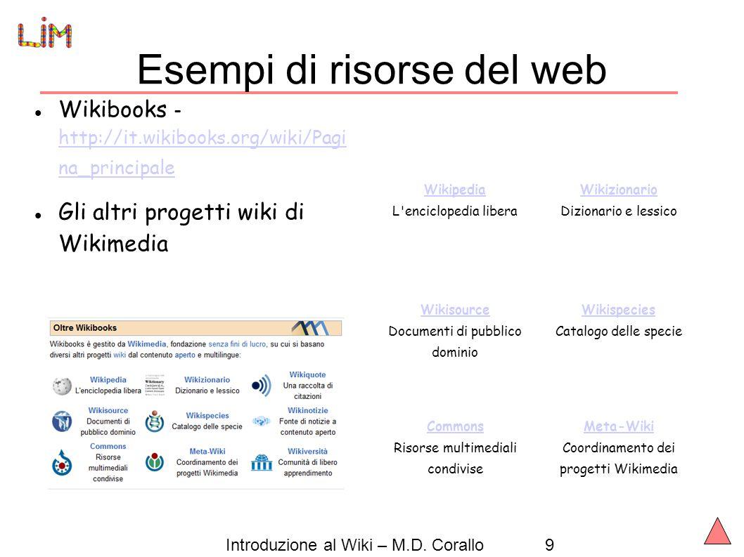 Esempi di risorse del web
