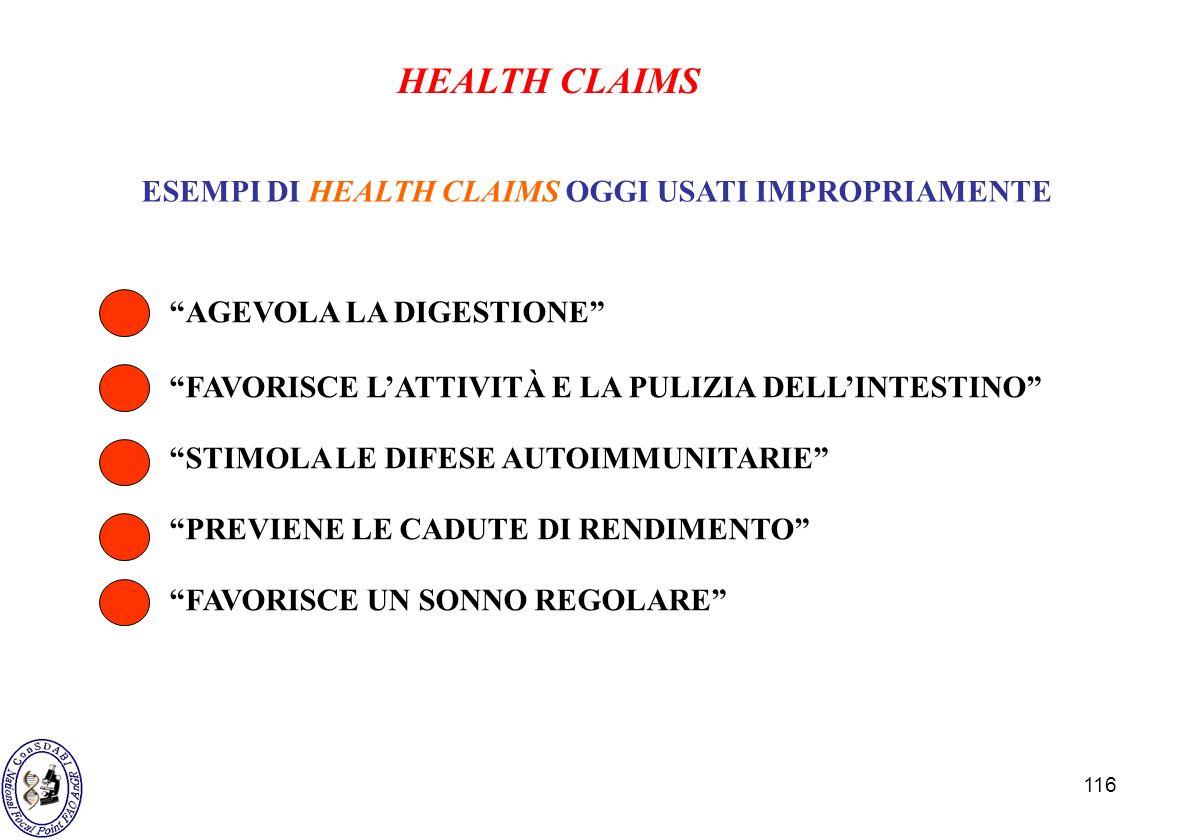 ESEMPI DI HEALTH CLAIMS OGGI USATI IMPROPRIAMENTE