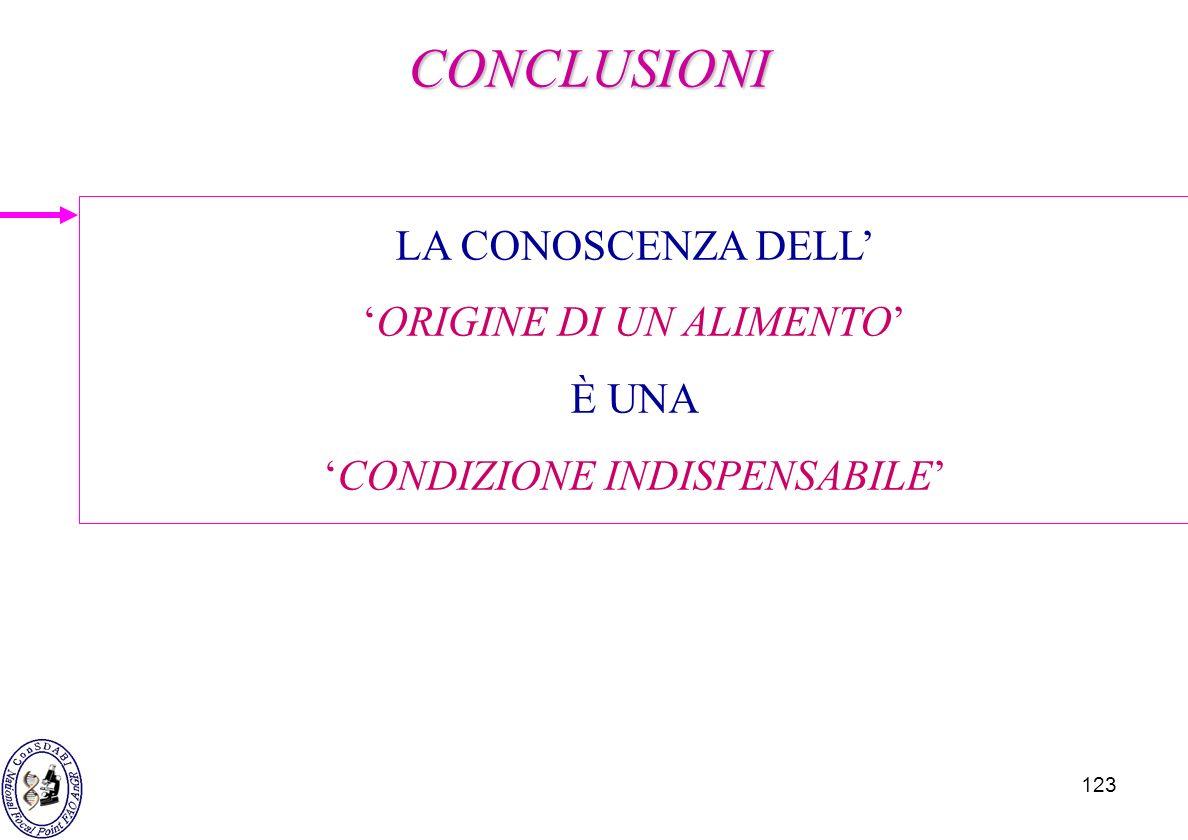 CONCLUSIONI LA CONOSCENZA DELL' 'ORIGINE DI UN ALIMENTO' È UNA