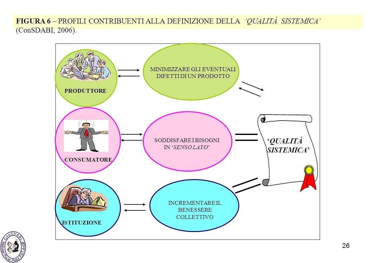 FIGURA 6 – PROFILI CONTRIBUENTI ALLA DEFINIZIONE DELLA 'QUALITÀ SISTEMICA' (ConSDABI, 2006).