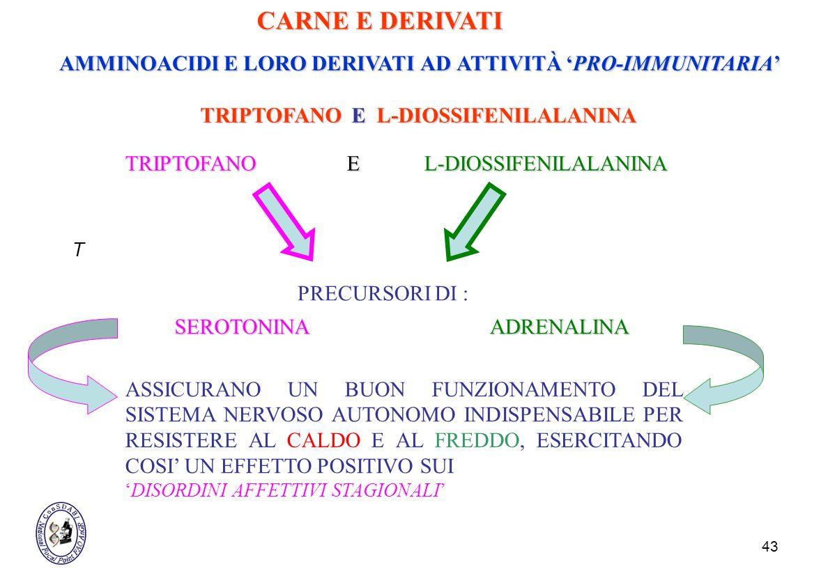 CARNE E DERIVATI AMMINOACIDI E LORO DERIVATI AD ATTIVITÀ 'PRO-IMMUNITARIA' TRIPTOFANO E L-DIOSSIFENILALANINA.