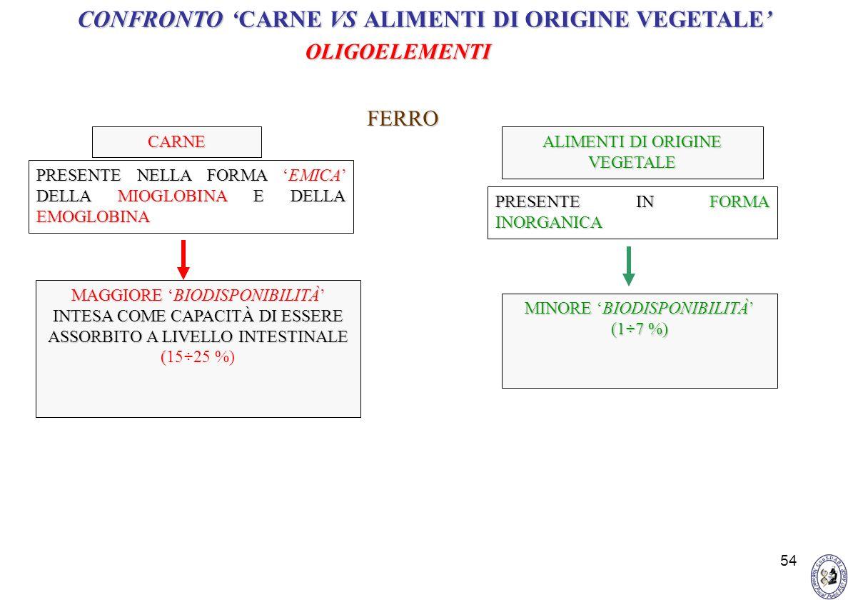 CONFRONTO 'CARNE VS ALIMENTI DI ORIGINE VEGETALE'