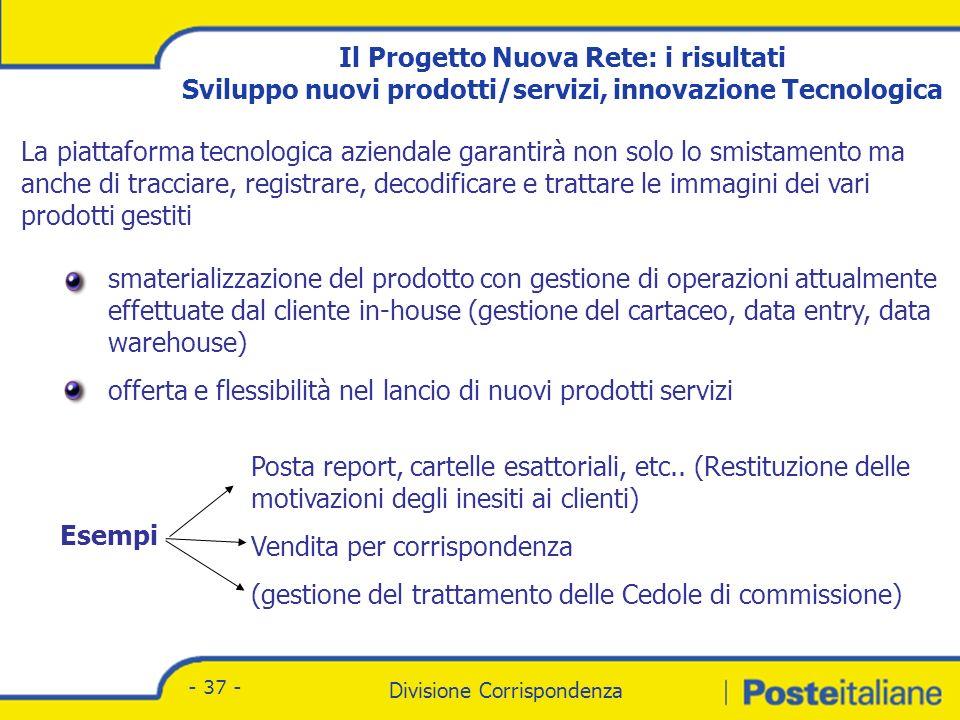 Il Progetto Nuova Rete: i risultati Sviluppo nuovi prodotti/servizi, crescita e gestione del know-how tecnologico
