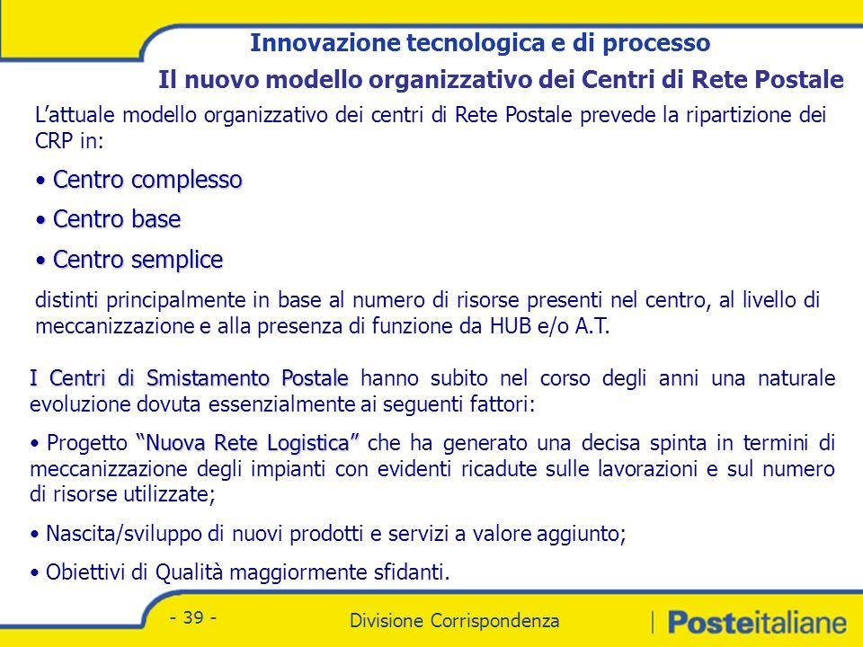 Obiettivo della nuova organizzazione dei Centri di Rete Postali