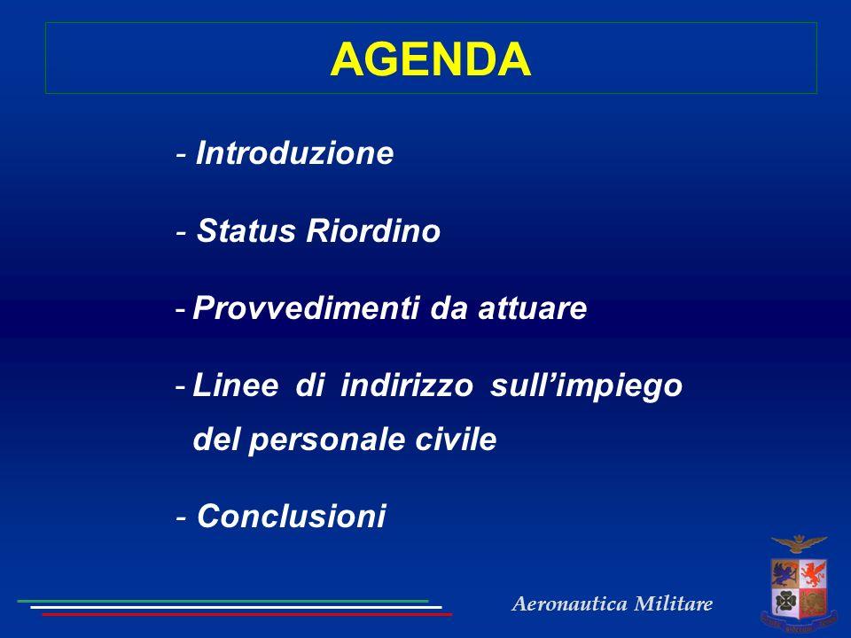 AGENDA - Introduzione - Status Riordino Provvedimenti da attuare