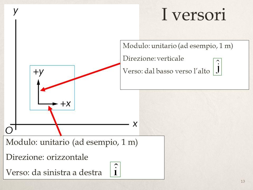 I versori Modulo: unitario (ad esempio, 1 m) Direzione: orizzontale