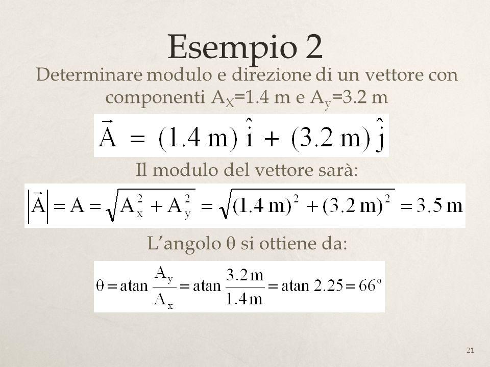 Esempio 2 Determinare modulo e direzione di un vettore con componenti AX=1.4 m e Ay=3.2 m. Il modulo del vettore sarà: