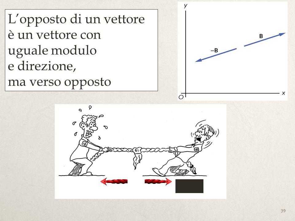 L'opposto di un vettore è un vettore con uguale modulo e direzione, ma verso opposto