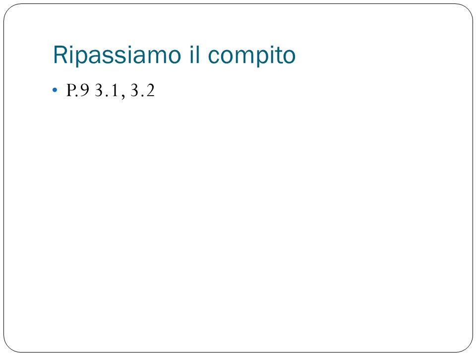 Ripassiamo il compito P.9 3.1, 3.2