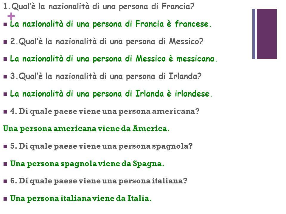 1.Qual'è la nazionalità di una persona di Francia