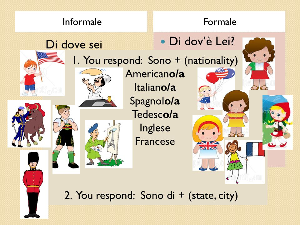 1. You respond: Sono + (nationality)