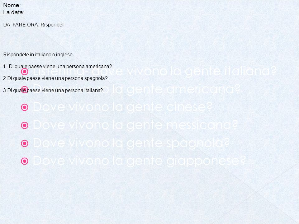 Listening- dove vivono la gente italiana