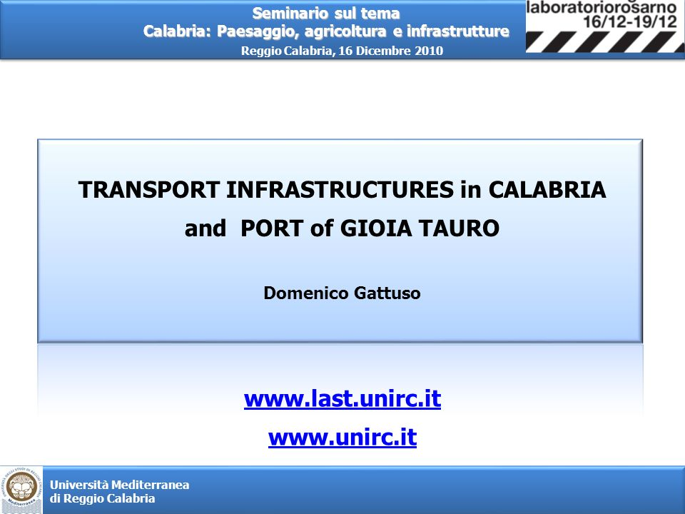 TRANSPORT INFRASTRUCTURES in CALABRIA