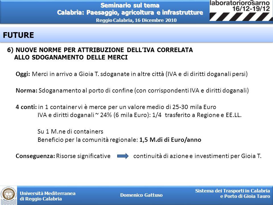FUTURE 6) NUOVE NORME PER ATTRIBUZIONE DELL'IVA CORRELATA. ALLO SDOGANAMENTO DELLE MERCI.