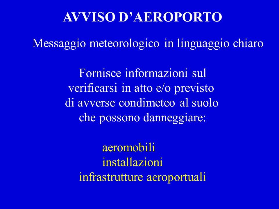 AVVISO D'AEROPORTO Messaggio meteorologico in linguaggio chiaro