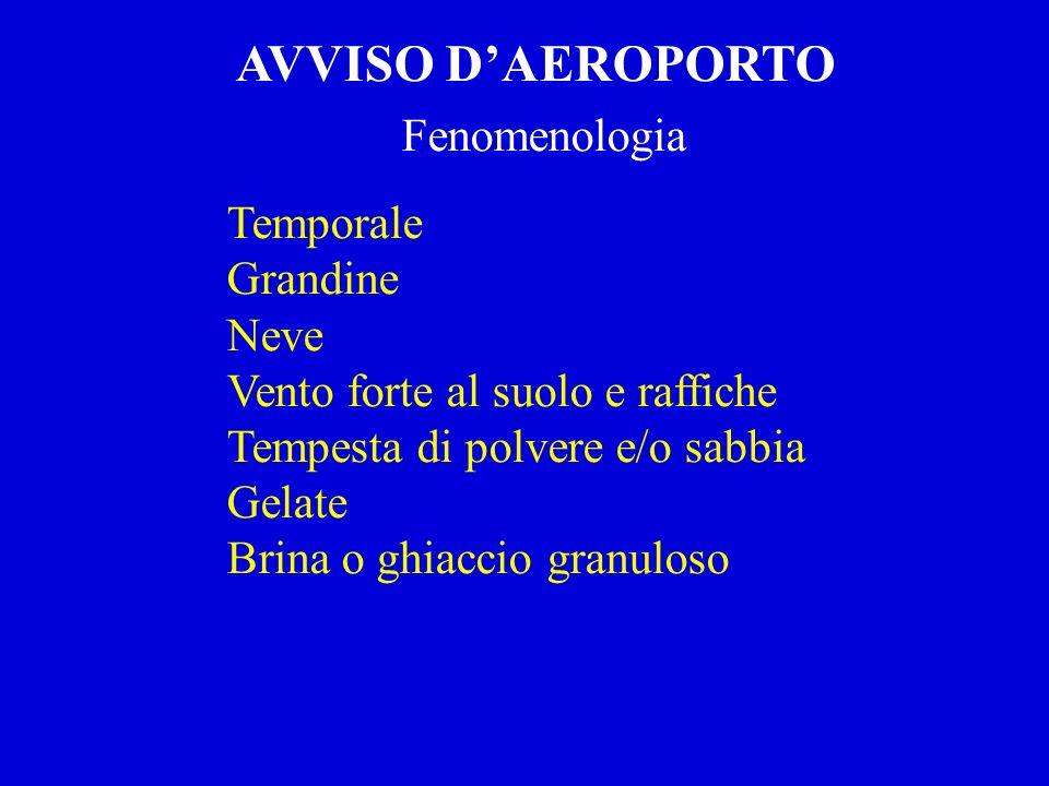 AVVISO D'AEROPORTO Fenomenologia Temporale Grandine Neve
