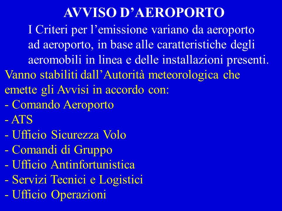 AVVISO D'AEROPORTO I Criteri per l'emissione variano da aeroporto
