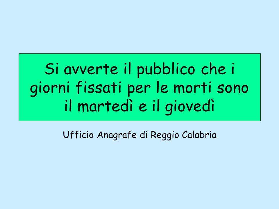 Ufficio Anagrafe di Reggio Calabria