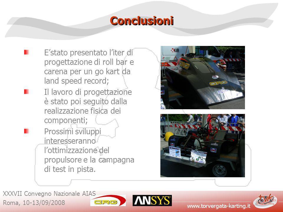 Conclusioni E'stato presentato l'iter di progettazione di roll bar e carena per un go kart da land speed record;
