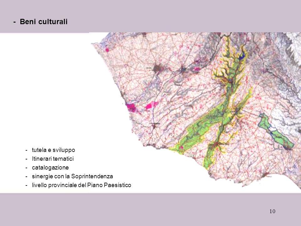 - Beni culturali tutela e sviluppo Itinerari tematici catalogazione