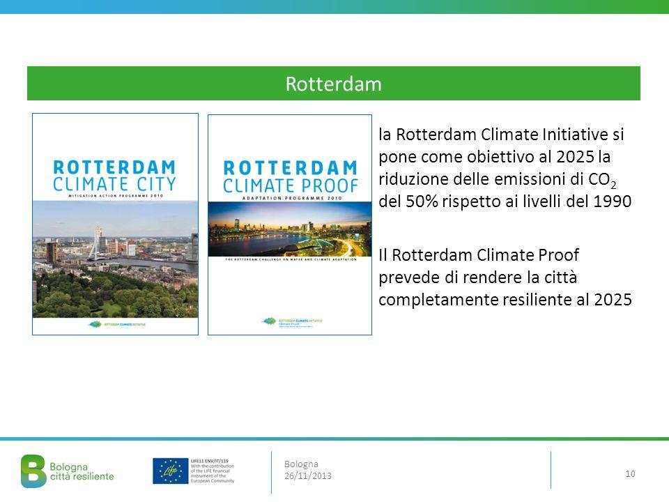Rotterdam la Rotterdam Climate Initiative si pone come obiettivo al 2025 la riduzione delle emissioni di CO2 del 50% rispetto ai livelli del 1990.