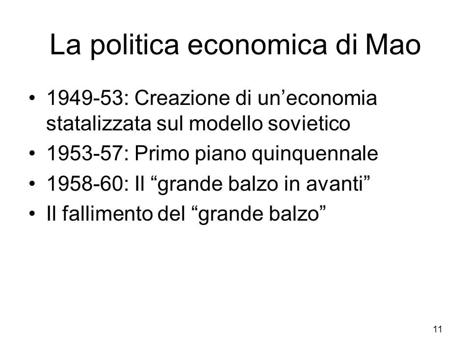 La politica economica di Mao