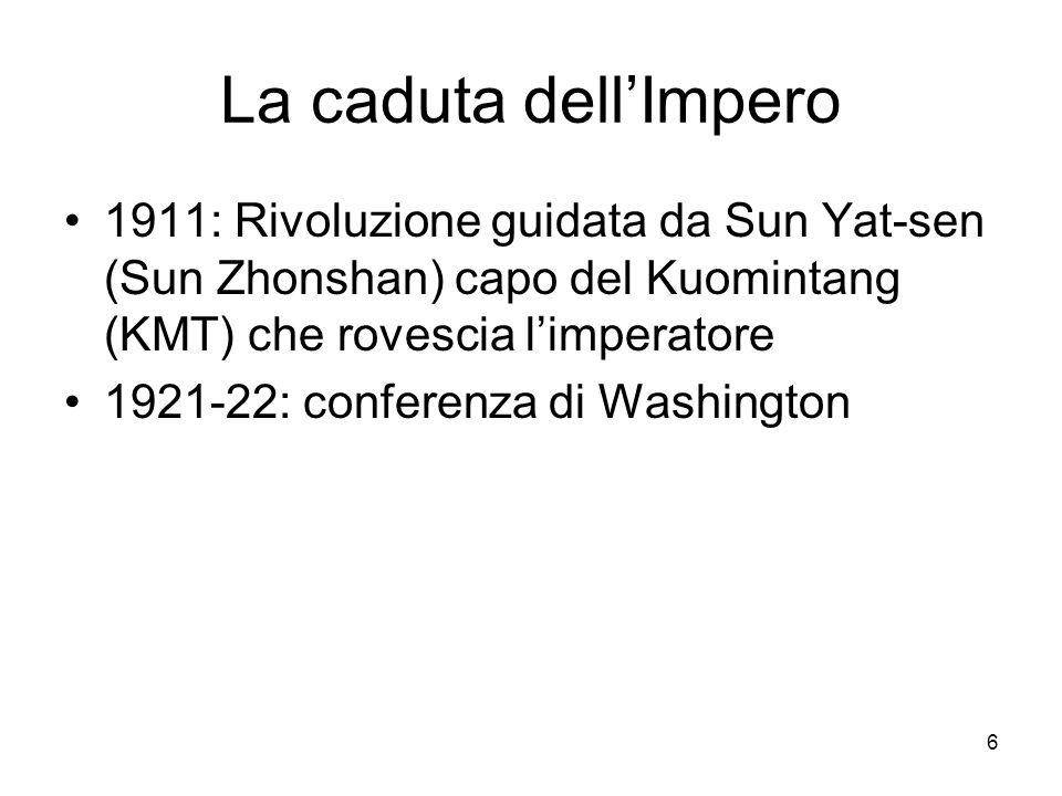 La caduta dell'Impero 1911: Rivoluzione guidata da Sun Yat-sen (Sun Zhonshan) capo del Kuomintang (KMT) che rovescia l'imperatore.