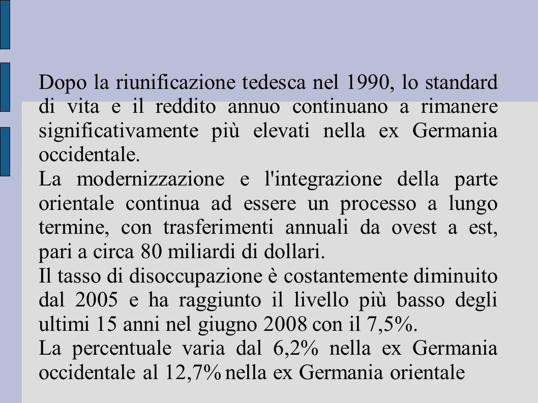 Dopo la riunificazione tedesca nel 1990, lo standard di vita e il reddito annuo continuano a rimanere significativamente più elevati nella ex Germania occidentale.