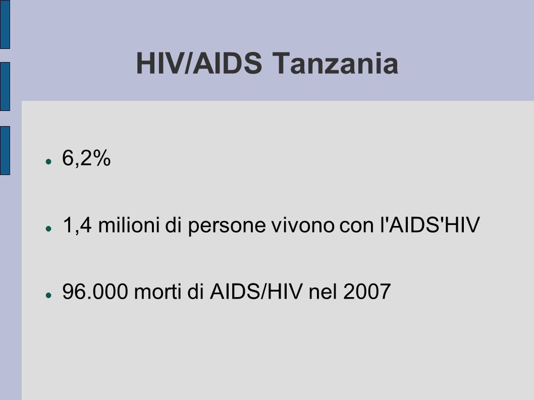 HIV/AIDS Tanzania 6,2% 1,4 milioni di persone vivono con l AIDS HIV