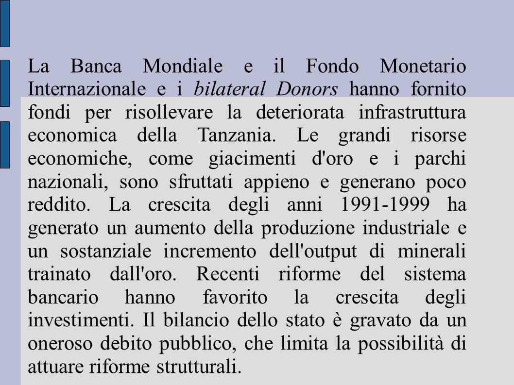 La Banca Mondiale e il Fondo Monetario Internazionale e i bilateral Donors hanno fornito fondi per risollevare la deteriorata infrastruttura economica della Tanzania.