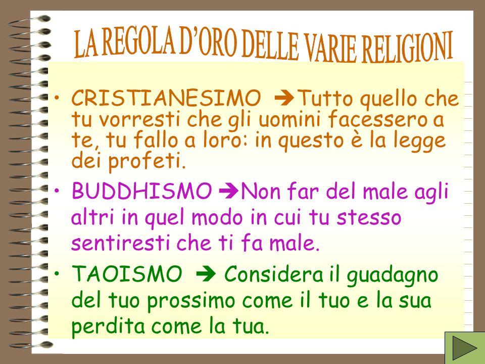 LA REGOLA D'ORO DELLE VARIE RELIGIONI