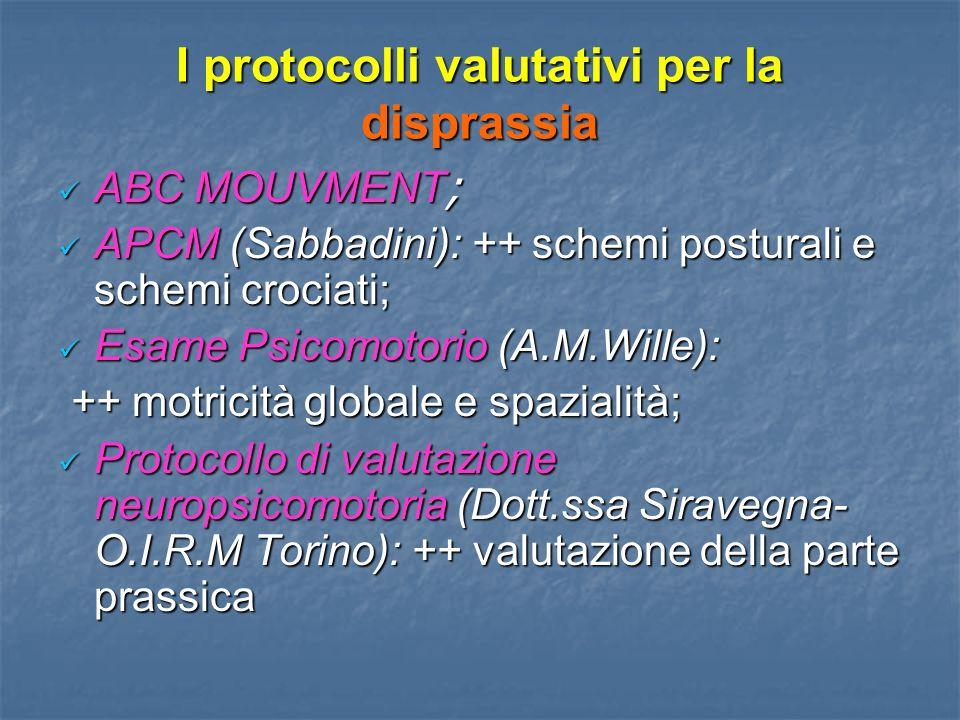 I protocolli valutativi per la disprassia