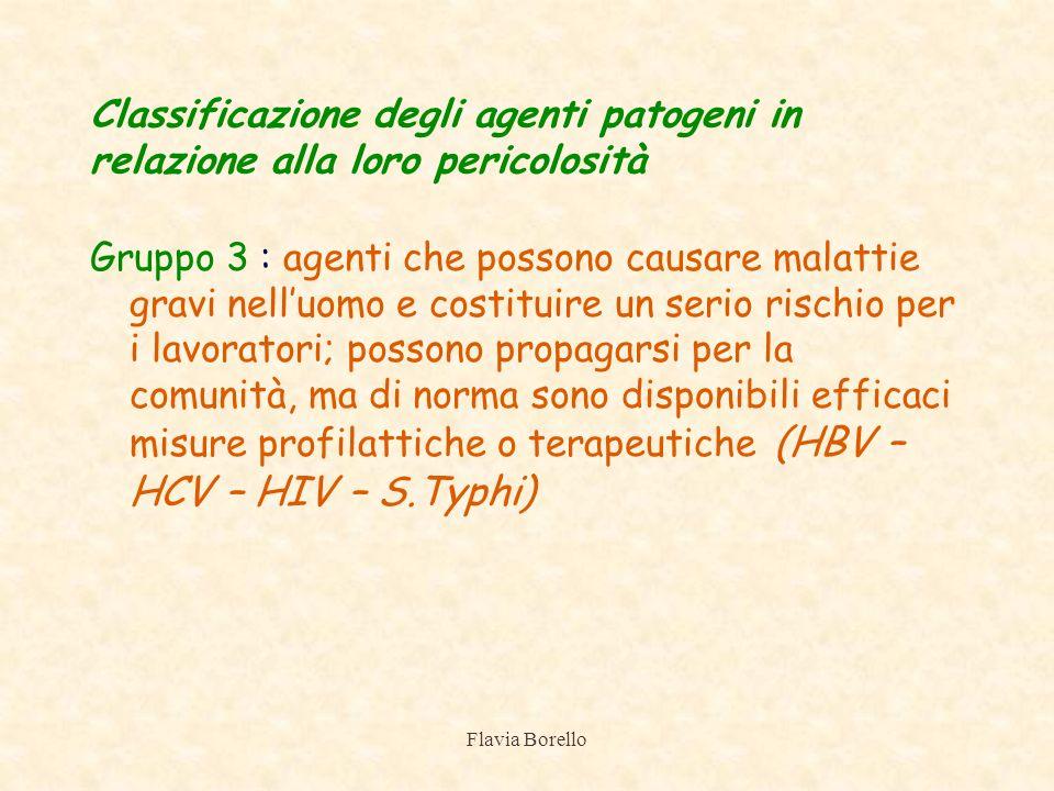 Classificazione degli agenti patogeni in relazione alla loro pericolosità