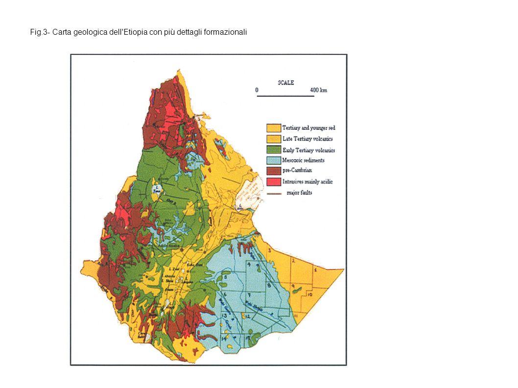Fig.3- Carta geologica dell Etiopia con più dettagli formazionali