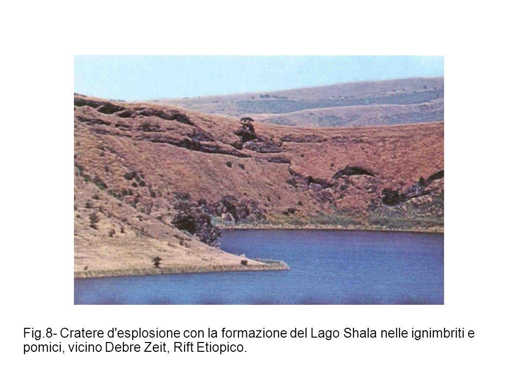 Fig.8- Cratere d esplosione con la formazione del Lago Shala nelle ignimbriti e pomici, vicino Debre Zeit, Rift Etiopico.